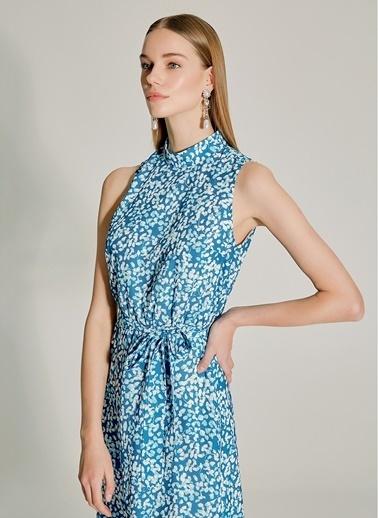 NGSTYLE Dik Yakalı Desenli Elbise Petrol